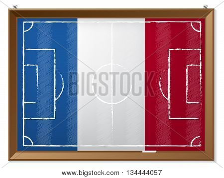 Soccer field drawing with french flag in background