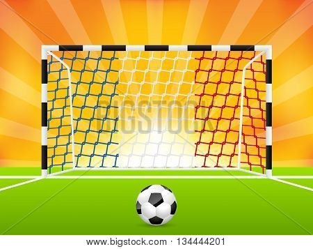 Abstract soccer background template with french flag net