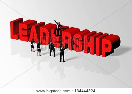 Leadership Concept Illustrated By Leadership Word And Group Of People, 3D Rendering