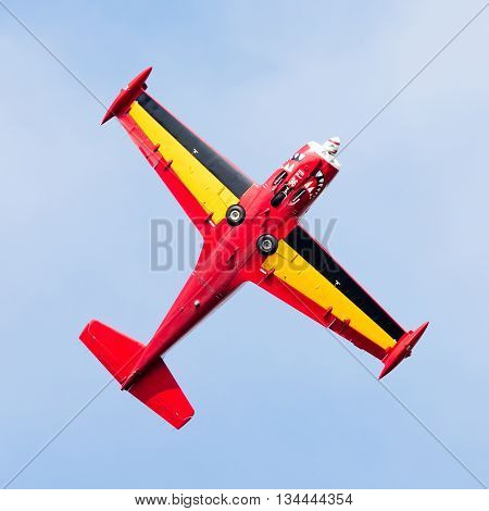 Leeuwarden, The Netherlands - June 10, 2016: Belgium Red Devils At The Luchtmachtdagen Airshow On Ju