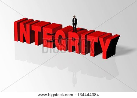 Integrity Concept Illustrated By Integrity Word And Person, 3D Rendering