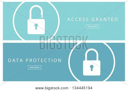 Set of flat design concepts Data protection and Access granted. Banners for web design, marketing and promotion. Presentation templates. Vector illustration.