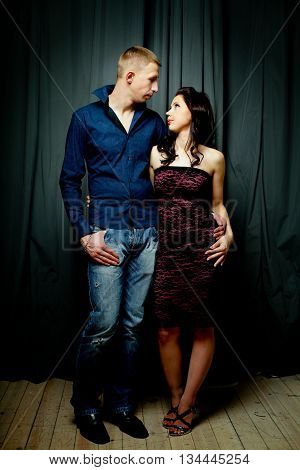 Couple - man and woman love passion real people fine art portrait