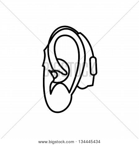 Hearing aid icon in outline style isolated on white background