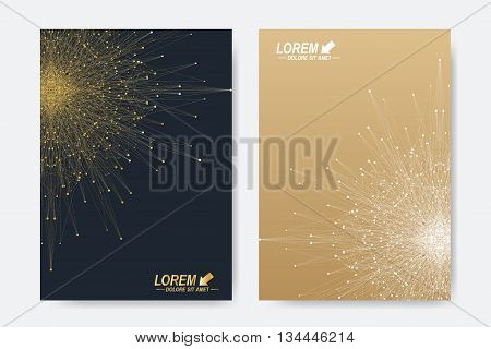 Modern vector template for brochure, Leaflet, flyer, cover, magazine or annual report. Business, science, medicine and technology design book layout. Abstract presentation with golden mandala