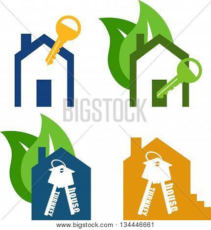 Vector icon key. house turnkey. turnkey illustration. Eco Home turnkey Flat design style.