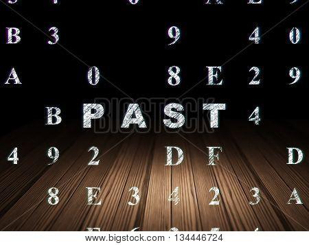 Timeline concept: Glowing text Past in grunge dark room with Wooden Floor, black background with Hexadecimal Code