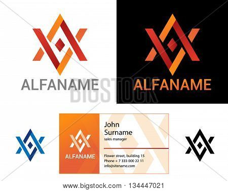 Ethno pattern. Design modern logos for legal business. On white and on black background.