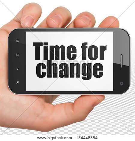 Time concept: Hand Holding Smartphone with black text Time for Change on display, 3D rendering