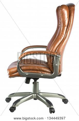 brown leather high-backed chair on a white background