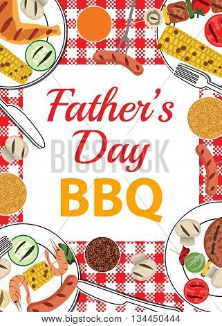 Invitation card for Fathers Day BBQ with food and beverages on table