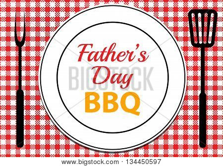 Invitation card for Fathers Day BBQ with tablecloth and plate on table