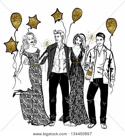 Friends party with baloons, sparklers and champagne. Hand-drawn illustration with ink
