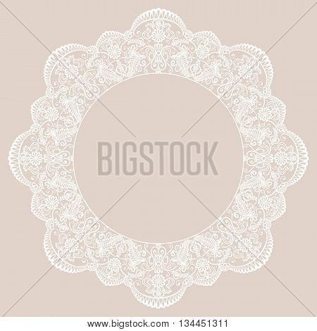 Round lace frame on beige background. Template for wedding or greeting card