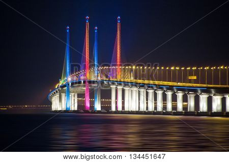 Night View of 2nd Penang Bridge Light Up, George Town Penang, Malaysia