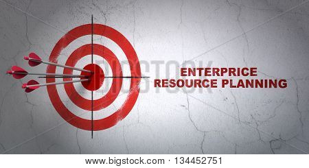 Success business concept: arrows hitting the center of target, Red Enterprice Resource Planning on wall background, 3D rendering