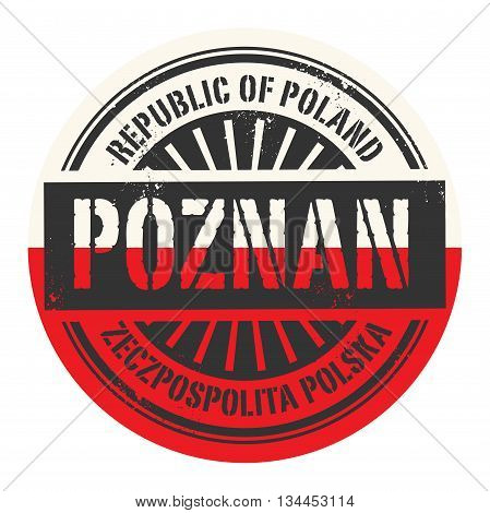 Grunge rubber stamp with the text Republic of Poland, Poznan, vector illustration