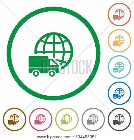 Set of International transport color round outlined flat icons on white background