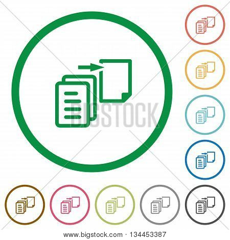 Set of move file color round outlined flat icons on white background
