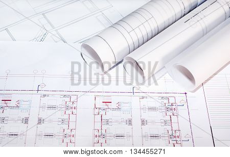 blueprints paper and blueprints rolls the past of architectural project construction and renovation concept