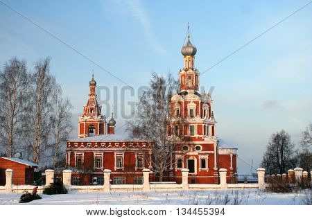 Orthodoxy ancient church b fore Christmas, Moscow region