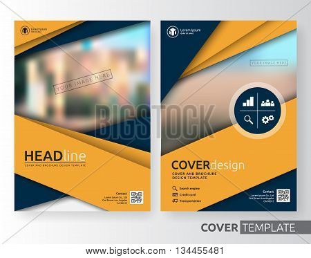 Abstract business and corporate cover design layout. Suitable for flyer brochure book cover leaflet and annual report. Yellow and navy blue color A4 size template background with bleed. Vector illustration