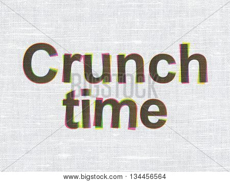Business concept: CMYK Crunch Time on linen fabric texture background