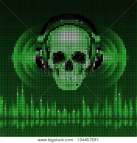 Disco background with skull in headphones equalizer in green shades. LED style display