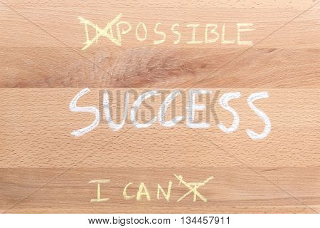 success word with changing word impossible to possible and changing word i can't to i can over wooden background think positive for success concept