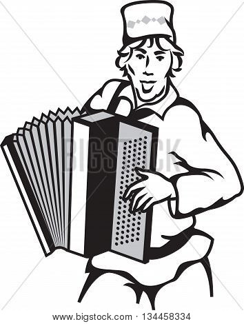Vector illustration of retro bayan player isolated on white background.