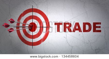 Success finance concept: arrows hitting the center of target, Red Trade on wall background, 3D rendering