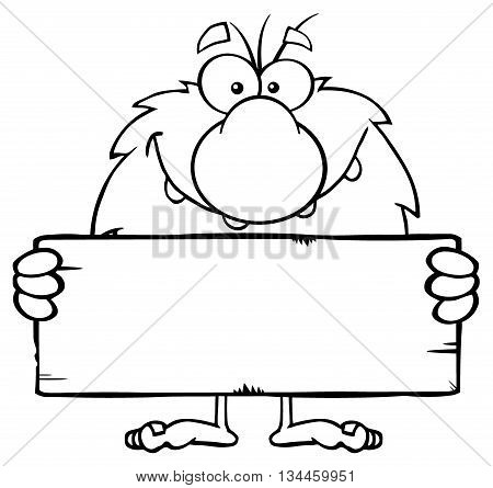 Funny Male Caveman Cartoon Mascot Character Holding A Stone Blank Sign