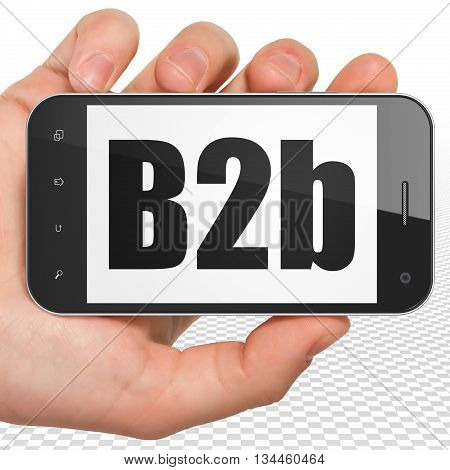 Business concept: Hand Holding Smartphone with black text B2b on display, 3D rendering