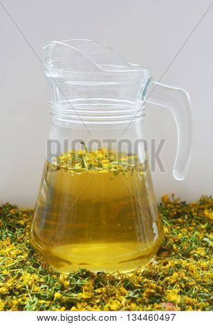 tea made from the herb St. John's wort, traditional medicine, medicinal herb