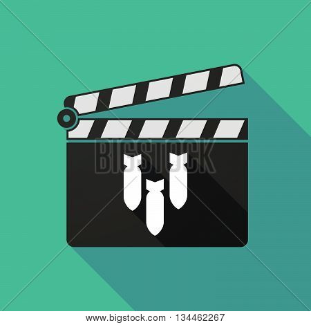 Long Shadow Clapperboard With Three Bombs Falling