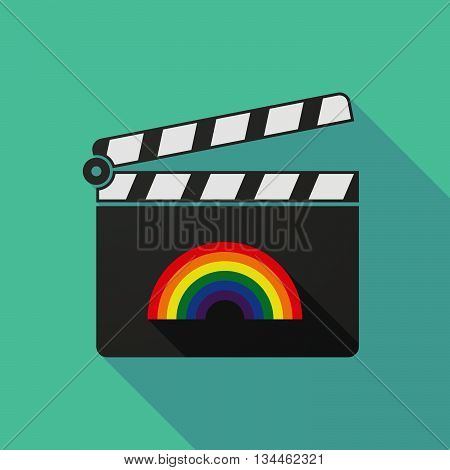 Long Shadow Clapperboard With A Rainbow