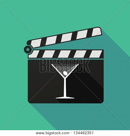 Long Shadow Clapperboard With A Cocktail Glass