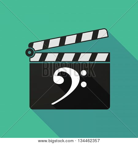 Long Shadow Clapperboard With An F Clef