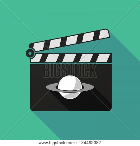 Long Shadow Clapperboard With The Planet Saturn