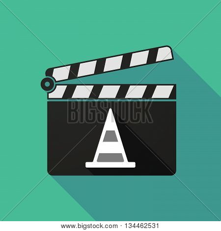 Long Shadow Clapperboard With A Road Cone