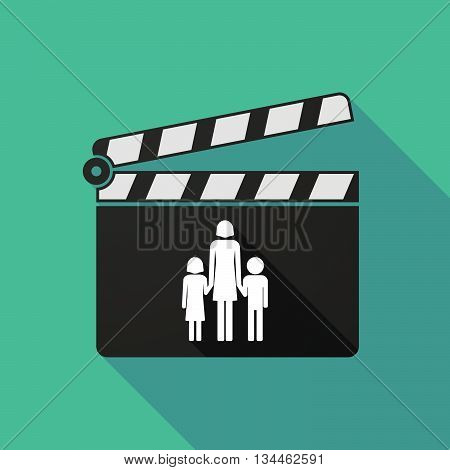 Long Shadow Clapperboard With A Female Single Parent Family Pictogram