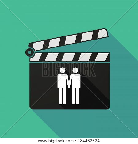 Long Shadow Clapperboard With A Large Family  Pictogram