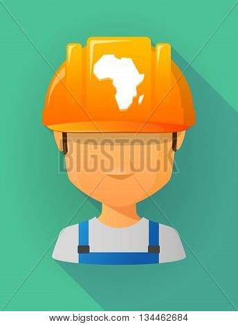Worker Male Avatar Wearing A Safety Helmet With  A Map Of The African Continent