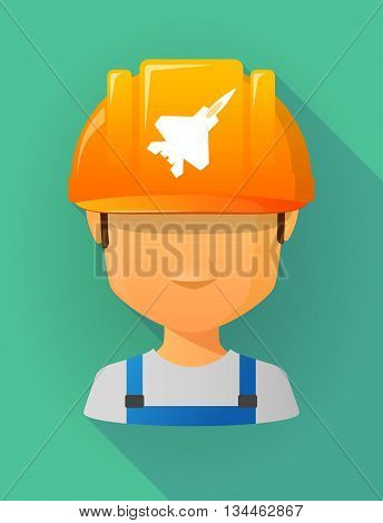 Worker Male Avatar Wearing A Safety Helmet With A Combat Plane