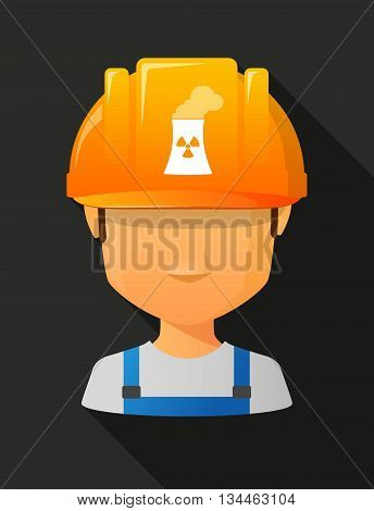 Worker Male Avatar Wearing A Safety Helmet With A Nuclear Power Station
