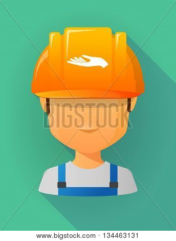 Worker Male Avatar Wearing A Safety Helmet With A Hand Offering