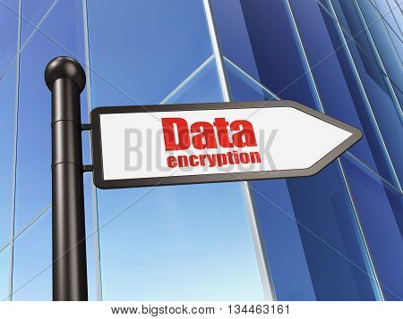 Security concept: sign Data Encryption on Building background, 3D rendering