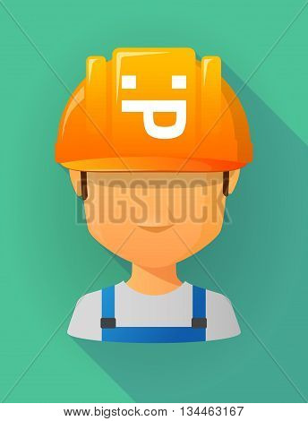 Worker Male Avatar Wearing A Safety Helmet With A Sticking Out Tongue Text Face