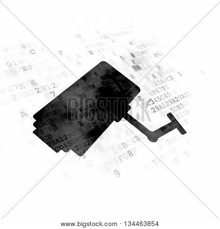Privacy concept: Pixelated black Cctv Camera icon on Digital background
