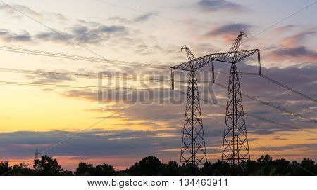 high voltage post High voltage tower sky background.